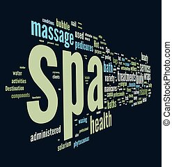 Spa word cloud vector illustration on dark blue background