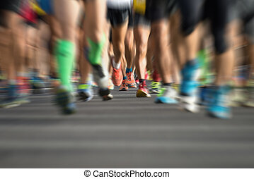 Marathon runners in the race,abstract