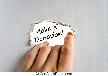 Make a donation text concept isolated over white background