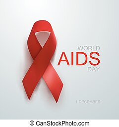 Aids Awareness Red Ribbon World Aids Day concept Vector...