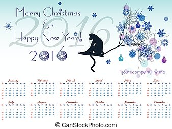 Greeting christmas card with calendar for 2016 and monkey on winter tree branch