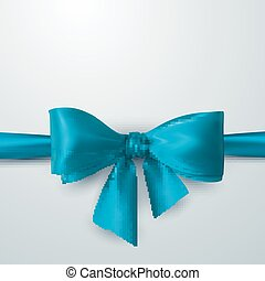 Blue Bow And Ribbon.