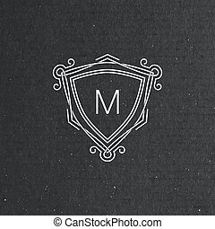 vector floral monogram. art-deco frame. line art element for...