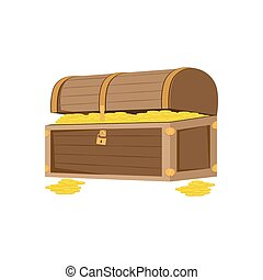 treasure chest vector illustration of box with gold coins