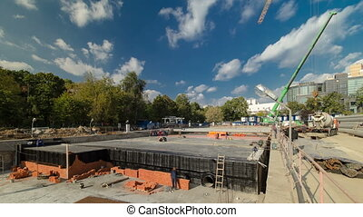 Construction of a new circular metro line. Russia, Moscow...