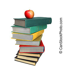 Red apple on a stack of books