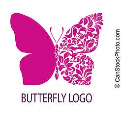 pourpre, papillon, logo,