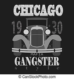 Chicagol t-shirt graphic design. Gangster style emblem