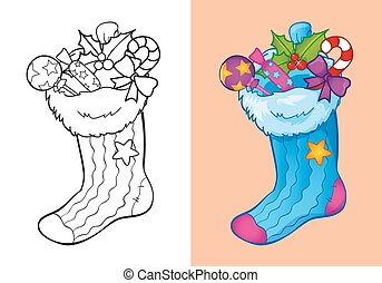 Coloring Book Of Christmas Sock With Candies - Vector...