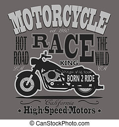 Motorcycle Racing Typography Graphics California Motors...