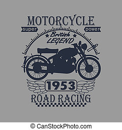 Motorcycle Racing Typography Graphics Label T-shirt Design -...