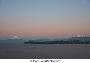 Volcano Osorno at Sunset - Sunset over snow capped Volcanoes...