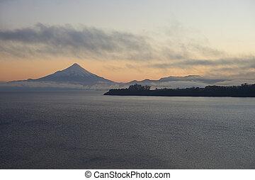 Volcano Osorno at Sunrise - Sunrise over Snow capped Volcano...