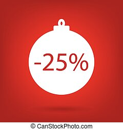 christmas sale sticker tag, 25 percent discount