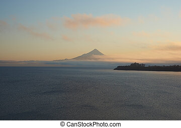 Volcano Osorno at Sunrise - Sunrise over Snow capped Volcano...