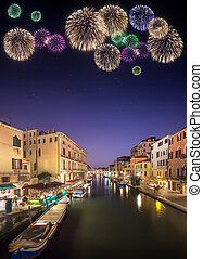 Beautiful fireworks under canals in Venice - Night scene in...