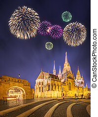 Beautiful fireworks under Fishermens bastion at night in...