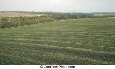 Aerial view of fields, plowed land only HD