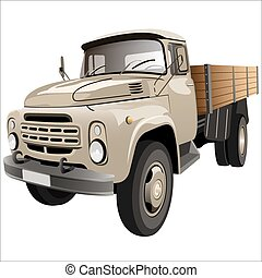 flatbed truck - cargo retro with side car body on a white...