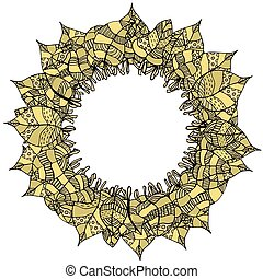 round frame of leaves - Beautiful round frame of doodle...