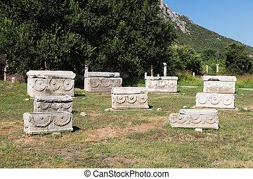 cidade,  Ephesus, antiga, sarcófago