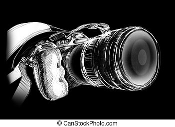 Camera on black background - Camera body design and pencil...