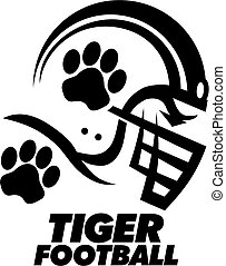 tiger football team design with paw print inside helmet for...