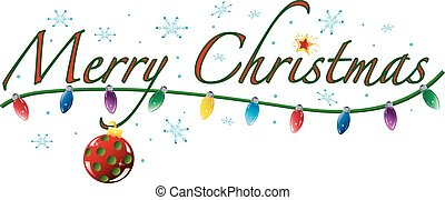 Merry Christmas Text - Colorful text with images that says...