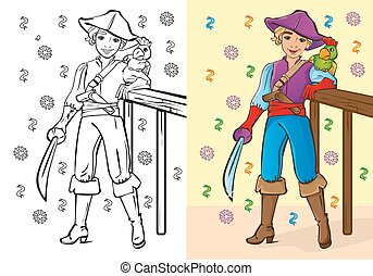 Coloring Book Of Boy In Pirate Costume
