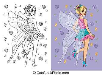 Coloring Book Of Girl In Fairy Costume