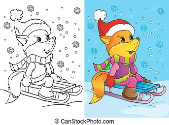 Coloring Book Of Cute Fox Sits On Sled - Vector illustration...