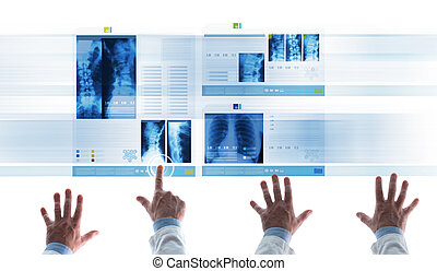 Medical team examining patient's medical records on slides -...