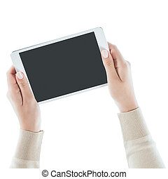 Hands holding a tablet