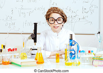 interesting chemistry - Student girl doing research in the...