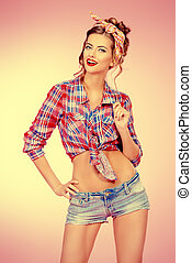 retro posing - Attractive smiling pin-up girl alluring in...