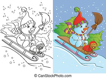 Coloring Book Of Snowman With Dog Rides - Vector...