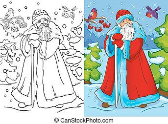 Coloring Book Of Father Frost Walking In Forest - Vector...