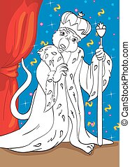Coloring Book Of Mouse King From Tale Nutcracker - Vector...