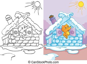 Coloring Book Of Fox In Ice House - Vector illustration of...
