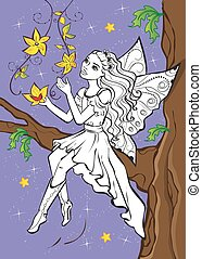 Coloring Book Of Fairy Elf Sitting On Branch