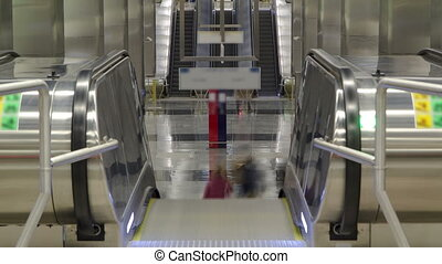modern subway station delovoy center timelapse. Moscow,...