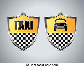 Taxi shield badge design set of two
