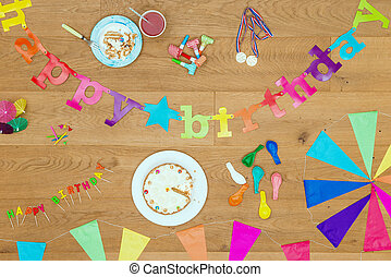Happy Birthday party background theme - Wooden surface with...