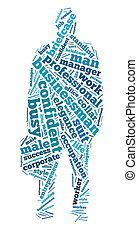 Businessman in tag cloud - Silhouette of businessman in tag...