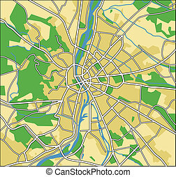 budapest - vector map of Budapest.