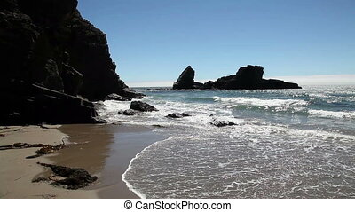 Waves On Sandy Beach With Rocks - Waves And Rocks With Sandy...