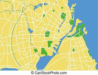 copenhagen - vector map of copenhagen