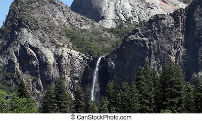 Bridal Veil Falls Yosemite National - Waterfall Over Granite...