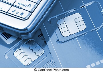 Mobile phone with sim cards - Close-up of mobile phone with...