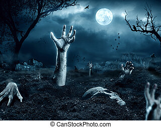 Zombie hand coming out of his grave. Full moon, halloween...